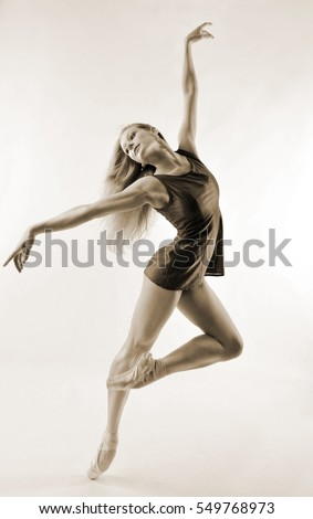 slender ballet dancer in short dress