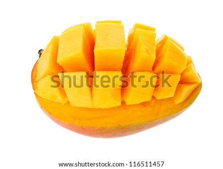 Slice of mango isolated on a white background.