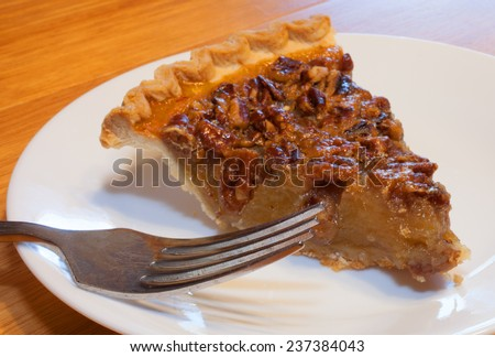 Slice of pecan pie with a fork on a white plate
