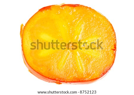 slice of persimmon close up isolated on white