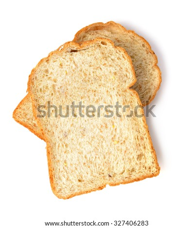 Slice of the toast bread isolated over the white background