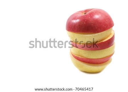 Sliced apple and chinese pear isolated on white background