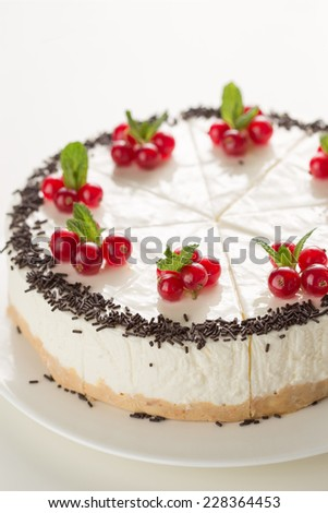 Sliced cake decorated with redcurrant and chocolate isolated on white background