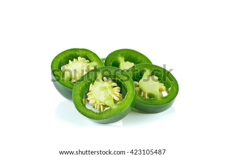 sliced green chilies on white background.