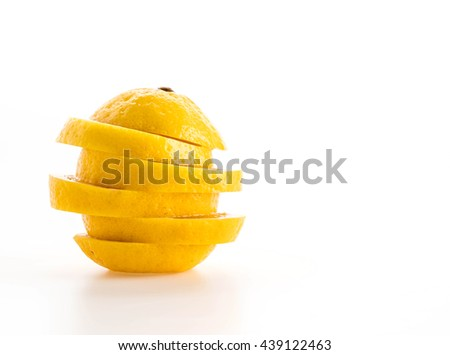 sliced lemon on white background