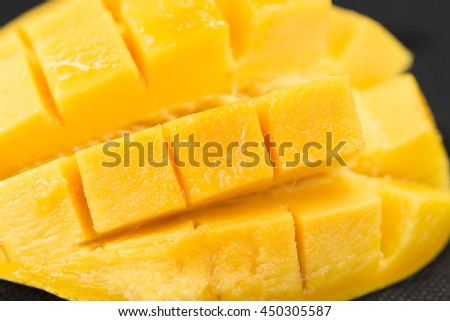 Sliced mango cubes