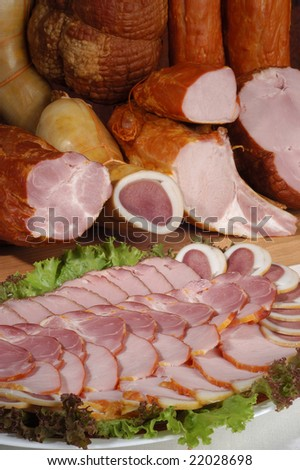 Sliced meat delicacies on a plate