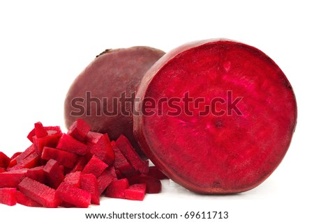 sliced red beets isolated on white background