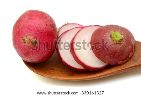 Sliced red radish isolated on white background