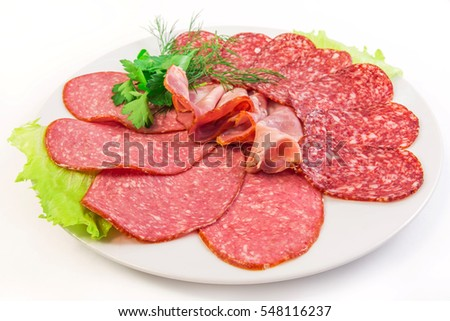 sliced sausages on the plate