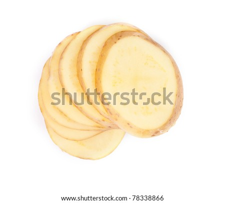 Sliced yellow potatoes isolated on white background