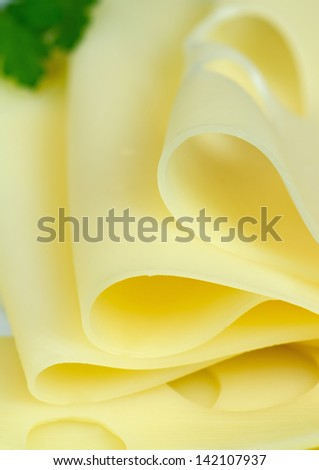 Slices of cheese, close-up