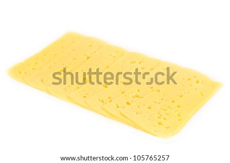 Slices of cheese in a plastic white container isolated on white background