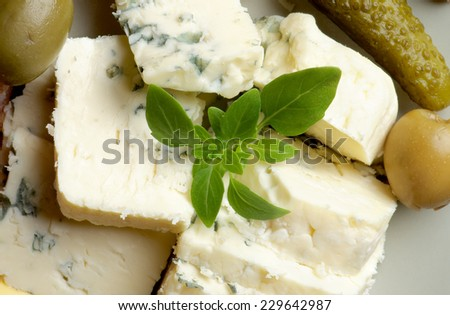 Slices of Delicious Blue Cheese with Green Olives and Basil closeup