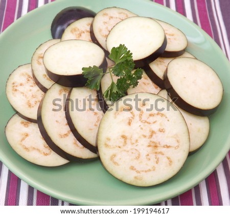 Slices of eggplants