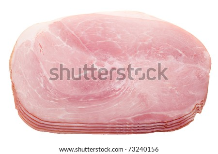 slices of ham isolated on a white background