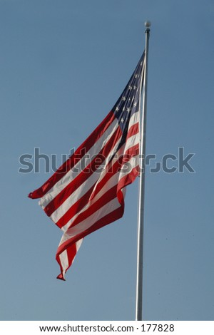 slightly frayed american flag