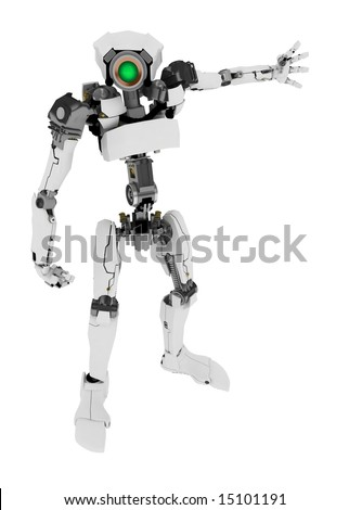 Slim 3d robotic figure, over white, isolated