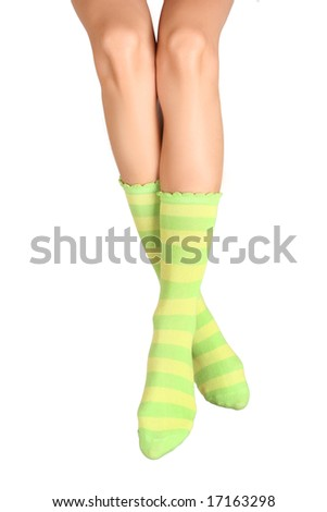 slim legs with funny green socks