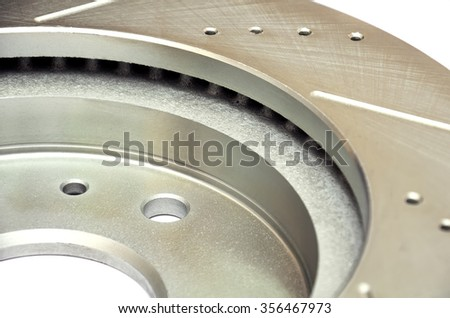 Slotted drilled brake rotor   / fragment