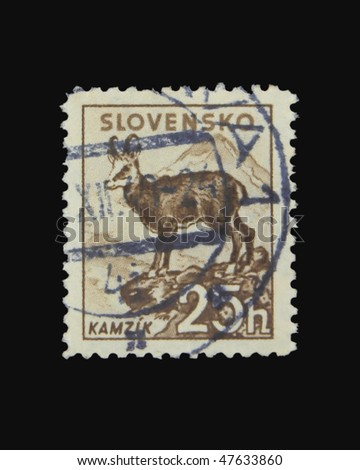SLOVAKIA - CIRCA 1943: A stamp printed in Slovakia showing chamois circa 1943