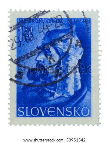 SLOVAKIA - CIRCA 1944: A stamp printed in Slovakia showing king Svatopluk circa 1944
