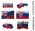 Slovakia flag and map in different styles in different textures - stock photo