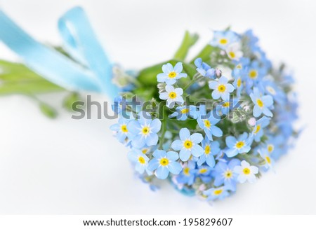 Small bouquet of blue forget-me-not, tied a blue ribbon, on a light background, selective focus