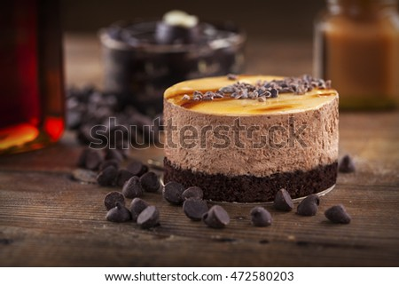 small chocolate and coffee mousse cake with