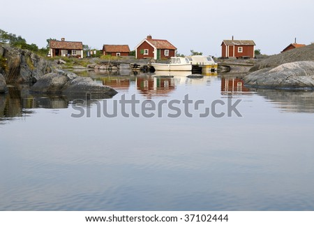 small cottages on an island