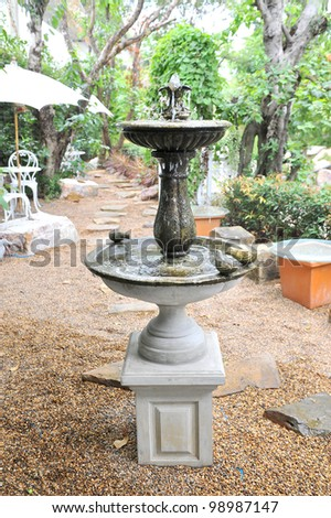 Small decorative fountain in garden