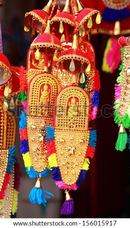 Small form  of caparison for sale at Aranmula Pardhasaradhy Temple.