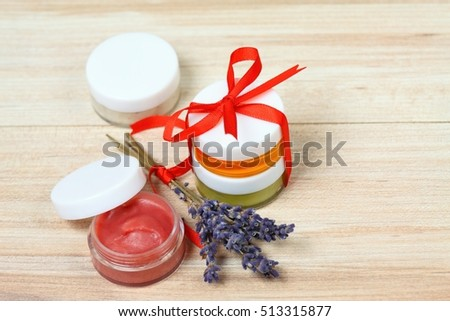 Small gifts with homemade herbal medicine and copy space around
