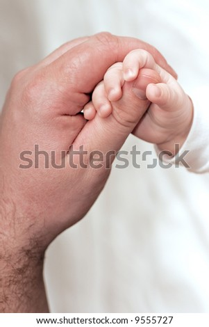 small handle of the baby and big man's hand on a light neutral background