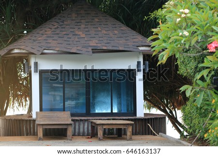 Several Ancient Chinese Houses Along River Stock Photo