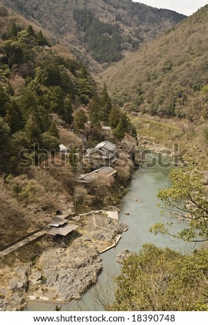 small Japanese village on the Hozu river