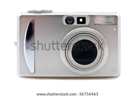 Small metal Digital photo camera on a white background