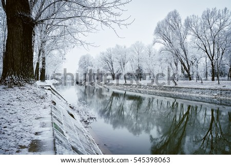 Small river in winter in Timsioara, Romania