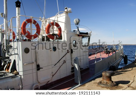 Small ship next pier on the Volga river in Samara.