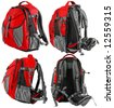 Small tourist or school backpack set - from four sides (red) - stock photo