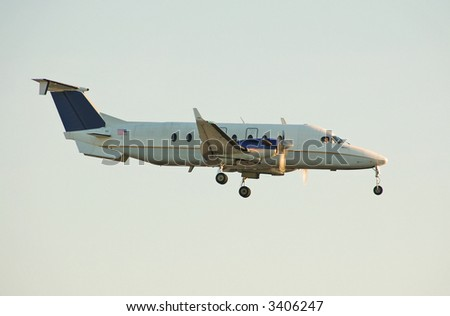Small turboprop at sunrise