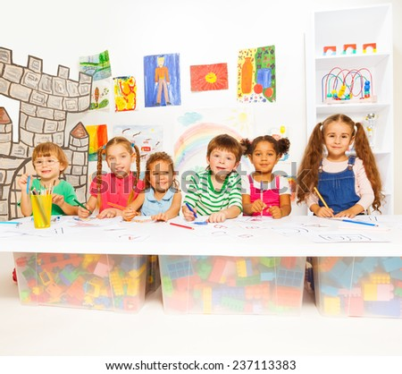 Smart little kids learning letters and reading
