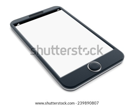 Smartphone with blank screen isolated on white background.