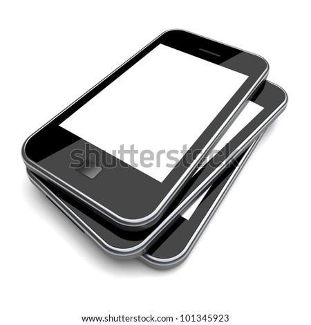 Smartphones with a blank screen on a white background. 3d image