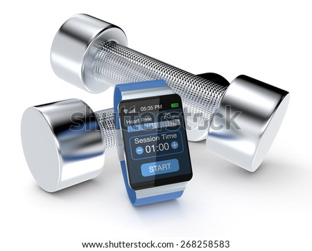 smartwatch with fitness app and dumbbells, on white background (3d render)