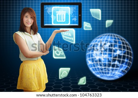 Smile lady hold Bin icon on tablet pc : Elements of this image furnished by NASA
