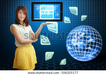 Smile lady hold digital tablet computer and WWW icon : Elements of this image furnished by NASA
