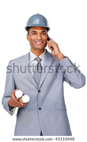Smiling attractive architect wearing a hardhat on phone isolated on a white background