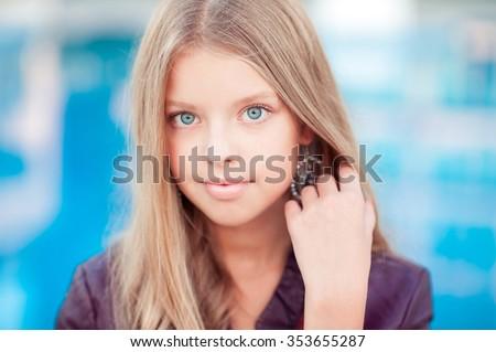 Beautiful Blonde Teenage Girl 1315 Year Stock Photo