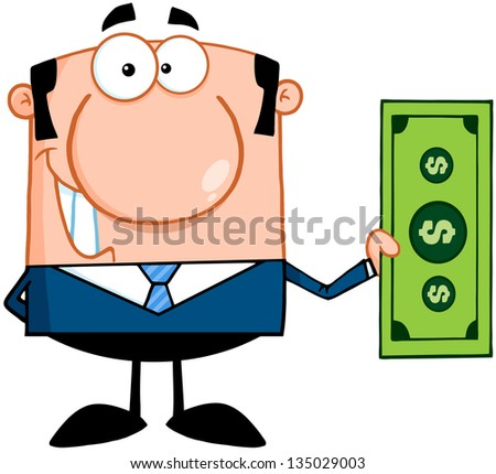 Smiling Business Man Holding A Dollar Bill. Raster Illustration.Vector Version Also Available In Portfolio.